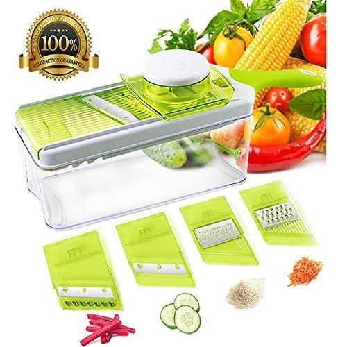 Naive water flow Munter Cutter Manuelle 6-1 - Schredder Küche Zwiebel Munter Küche Cutter Küchenmesser Kartoffel - Gemüse Schälen Von Obst Und Gemüse (Grün - Weiß),Grüne