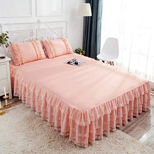 uselt Bett Röcke Wickeln Um Spitze Bett Rüschen Mit Plattform Fallen Lassen Baumwolle Blumig-Jade-200x220Cm(79x86Zoll) ()