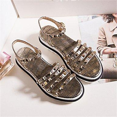 LvYuan Da donna-Sandali-Formale Casual-Comoda Innovativo Club Shoes-Piatto-Finta pelle-Nero Bianco Argento Dorato Black