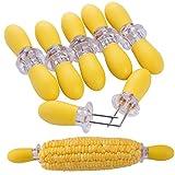 ZeWoo Set of 12 Interlocking Corn Holders Stainless Steel Non Slip BBQ Jumbo Food Holder Grips Forks