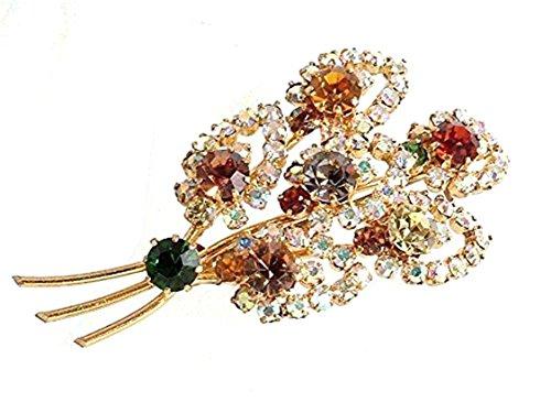 ff4e037644e8 Señoras rhinestone de la vendimia diseño de la hoja en un broche de oro de  metal de color - diseño 12102