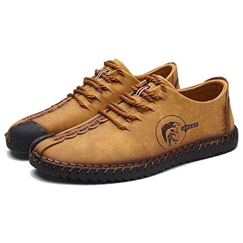 COOLCEPT Herren Bequeme Slip On Freizeit Flach Loafers Schuhe 23 Gold