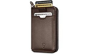 Vaultskin NOTTING HILL Slim Zip Wallet with RFID Protection for Cards Cash Coins (Marron)
