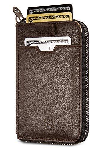 Vaultskin NOTTING HILL schlanke Brieftasche mit Reißverschluss und RFID Schutz. Geldbörse für Kreditkarten Bargeld Münzen (Braun) (Reißverschluss-kreditkarten-brieftasche Mit)