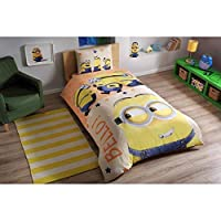 TAC 100% Cotton 3 pcs Licensed Quilt/Duvet Cover Set for Kids-Minions Bello
