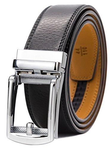GFG Herren Gürtel,Leder Automatik Gürtel Für Herren Jeans Anzug Gürtel-3,5cm Breite-200-140-Schwarz