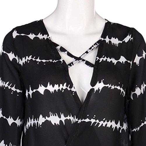 Momola Mode Femmes Long Manchon Sweat à capuche coloré blouse rayée pull Noir
