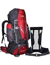 foxom 85L senderismo mochila marco interno mochila para hombres mujeres al aire libre Camping senderismo viajes escalada montañismo, rojo