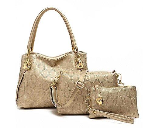 Di Grazia Women's Synthetic Gold 3 In 1 Combo Of Shoulder Bag , Satchel & Handbag (Dg-Gold ,Gold-3In1-Combo-Bag)