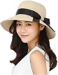 EINSKEY Ladies Straw Hat Womens Foldable UV Protection Sun Hat Summer UPF 50 Wide Brim Beach Hat (Beige, More Style)