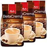 Melitta Kaffee BellaCrema LaCrema ganze Bohne, mittelstarke Kaffeebohnen, 3er Pack, 3 x 1000g