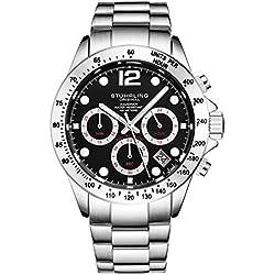 Stührling Original - Montre chronographe pour Homme, Bracelet en Acier Inoxydable avec Couronne vissée et étanche à 100 M. Mouvement à Quartz avec Cadran analogique (Silver/Black)