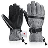 Fazitrip Herren 3M Thinsulate wasserdichte und winddichte Ski Handschuhe mit Touchscreen Fingers Winter Handschuhe (Gray, L/XL)