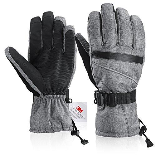 Fazitrip 3M Thinsulate Uomo antivento e impermeabile Guanti invernali guanti – guanti Outdoor, sci/snowboard/Guanti da equitazione con guanti dita caldi (Gray, M/L)