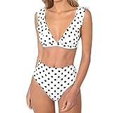 Longra Mujer Traje de Baño Sin Tirantes Estampado de Lunares Push Up Bañador Bikinis Beachwear...