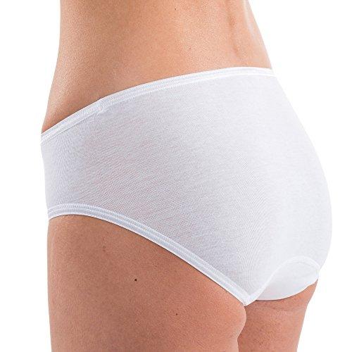 HERMKO 1031 Slip a vita media da donna 100% cotone, mutande con elastico, franco fabbrica - confezione da 5 pezzi Bianco