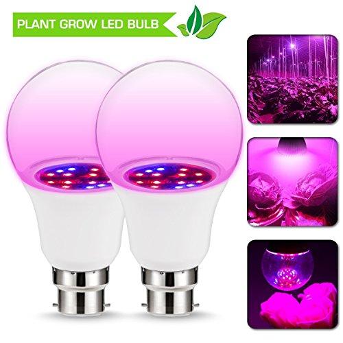 JandCase Grow LED-Lampe, 6 W, B22 A60, nicht dimmbar, 270 ° Abstrahlwinkel, rot/blaue Beleuchtung,...