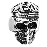 Adisaer Silberring Celtic Ring Edelstahl Herren Schwarz Silber Bar Punk Schädel Toten Kopf mit Hut Pirat Ringgröße 60 (19.1) Gothic Retro Vintage Trauung Ring Für Liebhaber