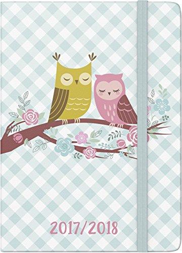 Brunnen Agenda scolaire, 1jour sur 1page, Calendrier: Août 2017à juillet 2018, 352pages (Français non garanti) Couverture tissu - 1 jour par page motif chouette