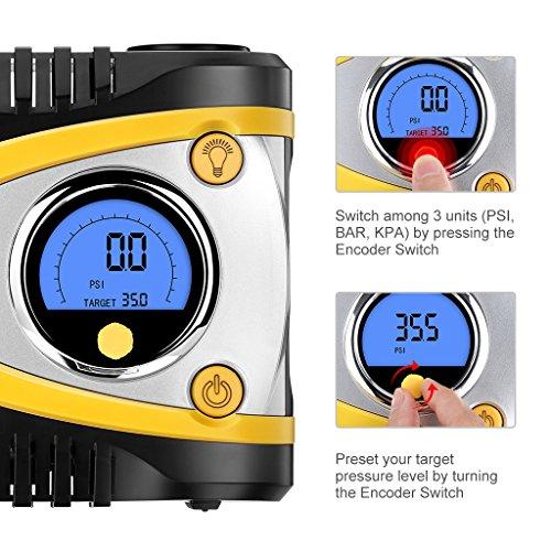 Suaoki B24A - Compresor de Aire Portátil Digital con Luz LED (12V DC, 100 PSI, Codificador Avanzado, Programación de Alta Precisión, Para Neumáticos, Objetos Inflables)