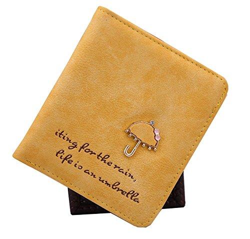 Qingsun Femme Porte-monnaie courte Portefeuille étui en Nubuck PU Cuir Zip Bouton Carte Sac à Main avec motif Parapluie, bleu ciel Jaune