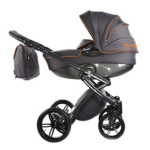 Knorr Kinderwagen Alive Be Carbon, dunkelgrau / orange