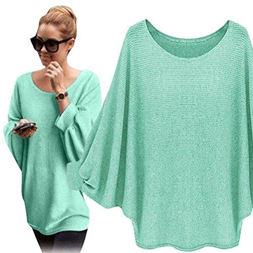 Nlife Womens übergroße Fledermaus Strick Pullover Oberteile Lose Sweater T-Shirts- Einheitsgröße, Grün