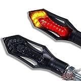 Motorrad LED Mini Blinker Rücklicht Bremslicht 12V 3IN1 Kombination Blinker Rush schwarz smoke getönt 2 STÜCK - 1 Paar