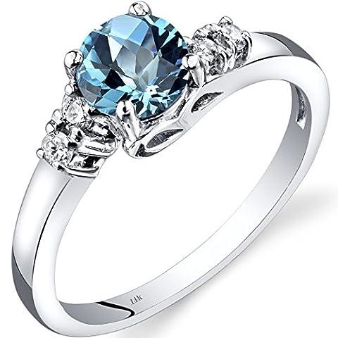 14ct Revoni or blanc Swiss Blue Topaz diamant Solstice Anneau
