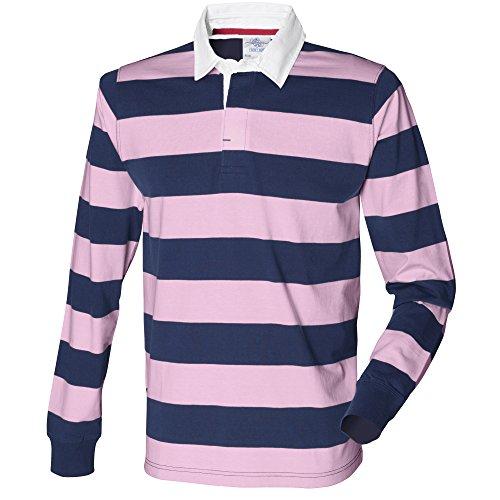 Front Row Herren Rugby Polo-Shirt, gestreift, Langarm Weiß/Blau