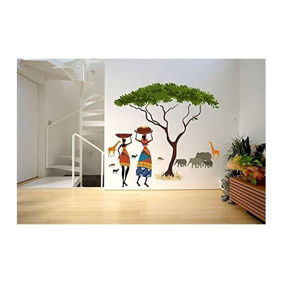 Decals Design Wall Sticker 'Artistic Tribal Ladies With Animals Nature'
