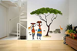 Decals Design 'Artistic Tribal Ladies with Animals Nature' Wall Sticker (PVC Vinyl, 60 cm x 90 cm, Multicolour)