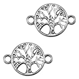 Nuoli Schmuckverbinder Lebensbaum Silber (2 Stück) Armband Zwischenstück Baum 22 x 15mm, DQ Metall Anhänger, wählbar