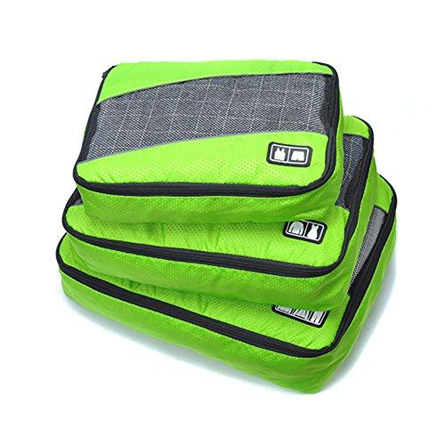 Belsmi Reise Kleidertaschen Set 3-teilig Reisetasche in Koffer Reisegepäck Organizer Kompression Taschen Kofferorganizer Mit Schuhbeutel (Grün) -