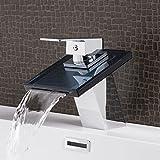 Wasserhahn New York Black Wasserfall Waschtisch Armatur Waschtischarmatur Waschbecken Waschbeckenarmatur Badezimmer Badarmatur