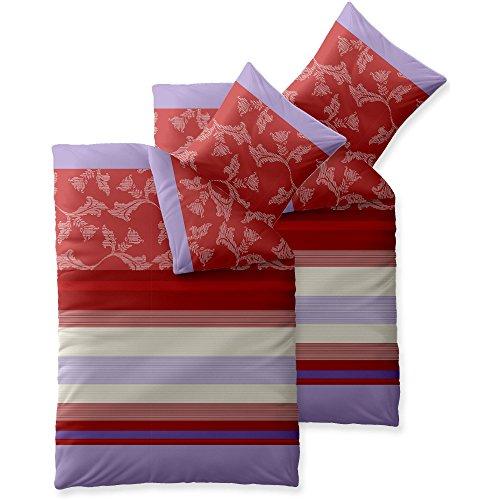 x200 Baumwolle Set Kopfkissen Bettbezug Reißverschluss atmungsaktiv Bett Garnitur 80x80 Kissen Bezug Streifen Blumen rot lavendel crem violett grau aqua-textil 0011766 Trend Imara (Bett-set Lavendel)