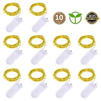 Luces de cadena de hadas llevadas – 2m 20 LED Luces de cadena a prueba de agua con pilas para la fiesta de bodas de Navidad Decoraciones de bricolaje navideñas, blanco cálido, paquete de 10