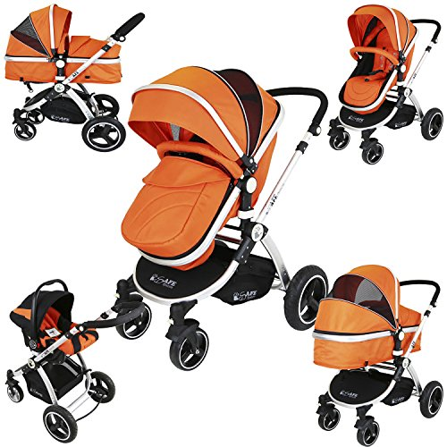 iSafe i-Safe System - Orange Trio Travel System Pram amp; Luxury Stroller 3 in 1 Complete With Car Seat