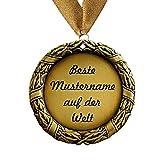 Larius Group Orden / Medaille mit Name / Wunschtext Namenstag Jubiläum Geburtstag Geschenk Emblem Halsband 70 mm