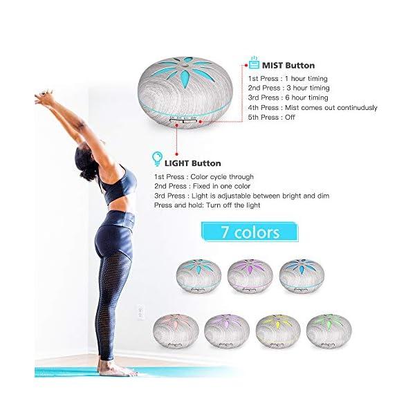 GeeRic Ultrasuoni Umidificatore Diffusore di Aroma Diffusori Oli Profumati Nebulizzator per Oli Essenziali Silenzioso 7 Colori LED per Yoga Regalo Marrone Diffusore di Oli Essenziali 550 ML