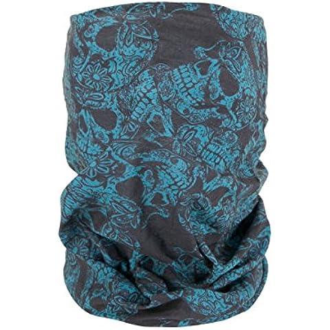 Foulard fazzoletto da collo sciarpa funzionale multiuso scaldacollo tubolare leggero e morbido estate primavera autunno inverno loop anello ragazze colorati stola accessorio moderno lifestyle, Multituch MF-174-221:MF-182 Skull blu