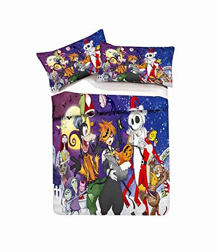 IK & HAPPY Kingdom Hearts Halloween-Kürbiskopf Entenbettbezug Verblassen und Fleckenresistent Bettbezug Mit Bettbezug Mit Kissenbezug Double Size