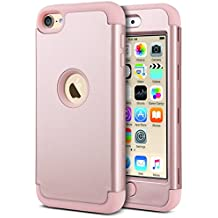Caso del iPod 6, ULAK iPod Touch 5 caso iPod 6 Funda Carcasa híbrido de 3 capas de silicona resistente a la intemperie caso cubierta dura para iPod Touch 5ta / 6ta generación (oro rosa)