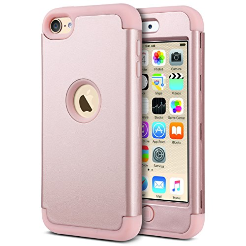 iPod Touch 5 Hülle, ULAK iPod Touch 6 Hülle 3 Layer Hybrid Combo Innere Weiche Silikon Hart Plastik Anti-stoß Schutzhülle Tasche Case Cover für Apple iPod Touch 5/6th Generation (Roségold) (Schutzhülle Ipod Gen 4 Fall)