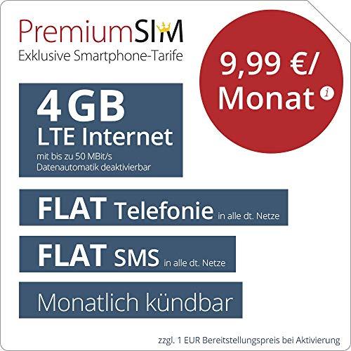 PremiumSIM LTE M Allnet Flat - monatlich kündbar (FLAT Internet 4 GB LTE mit max. 50 MBit/s mit deaktiverbarer Datenautomatik, FLAT Telefonie, FLAT SMS und EU-Ausland, 9,99 Euro/Monat)