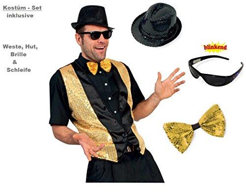 KOSTÜM - SET, für Herren, Pailletten - Set, 4 tlg. Weste, Hut, Brille & Schleife (Herren Outfits Ball Maskerade)