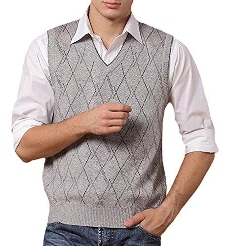 c7d96c9c2d6d2d DD.UP Herren Business Pullunder Slim Fit Vest Stricken V-Ausschnitt Argyle  Muster Wolle ...