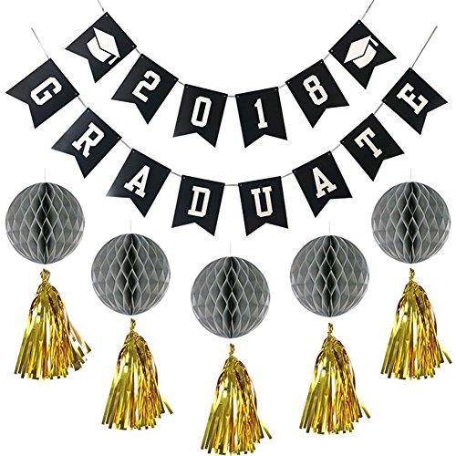 Rocwart Graduation Party Supplies 2018mit Quasten Pom Poms Paper Balls für College High School Universität Abschlussfeier Tisch und Wand Dekorationen Graduate (Graduierung College Diy Geschenke)