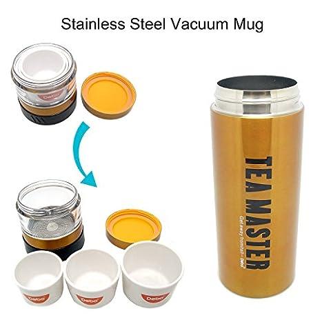 Debo Vacuum Isolated Travel Water/Coffee Mug, ballon à boiseries en acier inoxydable à double paroi avec 3 petites cuvettes dissimulées dans le bouchon, bouteille d