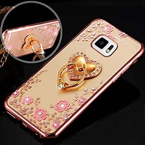 Samsung Galaxy Note 5 – Luxury 3D Heart Ring Holder Phone Stand With Soft TPU Premium Quality Anti-Scratch Case Soft Back Cover for Galaxy Note 5 – Gold